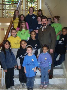Delegate Boteler poses with students of Connections Academy and the families of E-Mom after the introduction of House Bill 1543 (Education - Public Schools - Virtual Schools) Sponsored By: Delegates Boteler and Kach. March 24, 2009