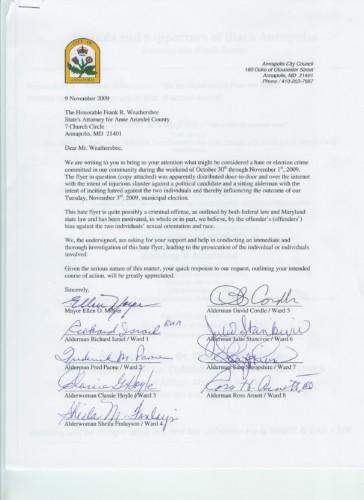 Weathersbee Letter 110909