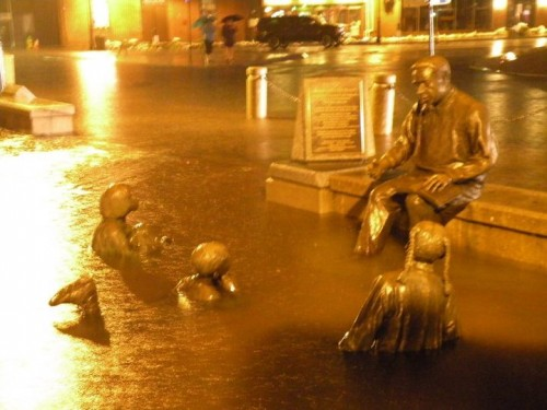 Alex Haley Memorial almost underwater in Annapolis Maryland after flooding from Tropical Storm Nicole