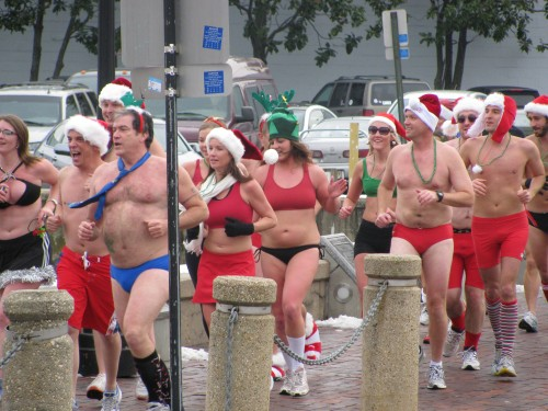 Santas in speedos run past City Dock in Annapolis
