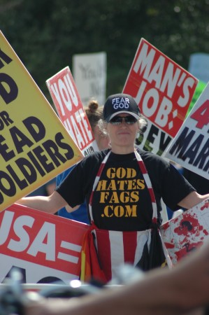 Shirley Phelps-Roper pickets at Glen Burnie High School in March 2012.