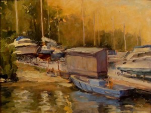 DAvid Diaz, Blue Boat, oil on panel, at MD Hall