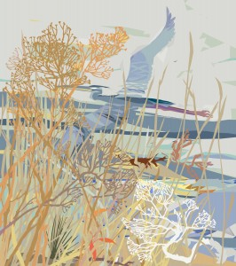Nancy Hammond, Heron in Marsh Grasses, Mixed Media, Paper, at MD Hall
