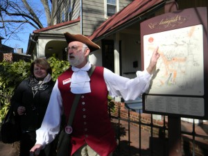 Squire Richard Hillman of Annapolis Tours by Watermark leads guests on a stroll of Annapolis' charming historic district.