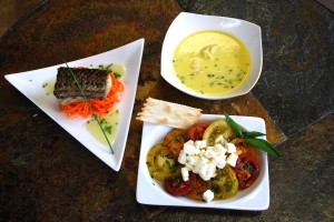 rockfish and corn seafood soup and marinated heirloom tomatoes