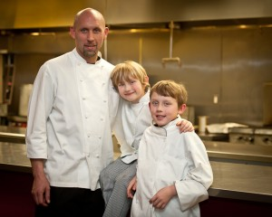 2012 photo of Chef Zachary Pope with sons Cameron (now 7) and Patrick (now 10).