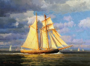 Calvin Liang_Sailing along San Diego Bay_Oil at McBride Gallery