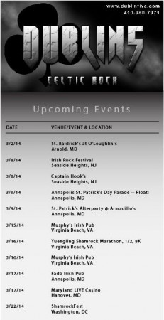 Dublin 5 Schedule March 29014