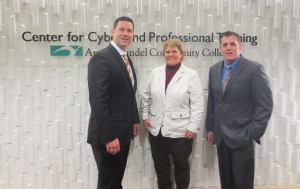 "New ""Growing the Cyber Analyst"" training begins this spring at the CyberCenter at Anne Arundel Community College's Center for Cyber and Professional Training in Hanover with curriculum developed by OPS Consulting and the CyberCenter. From left are Tony Jordan, OPS Consulting Director of Analytics; Kelly Koermer, AACC Executive Director of the Center for Cyber and Homeland Security Technology and Joint Ventures; and Ben Stafford, OPS Consulting Cyber Analysis Support Specialist."