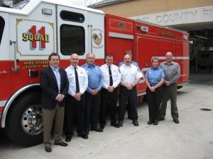 Pictured L-R: Mr. Robinson, Chief Evans, President Snyder, Chief Cox, Lt. Smith, VFF Snyder, VFF Kirby, Mr.Conlan.