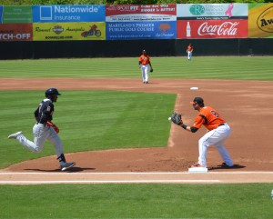 Outfielders collide in Baysox loss