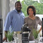 Isa Akpabio (DC) and Nettie Gould from Annapolis man the Capital Teas sampling station (photo by Sandy Mosso)