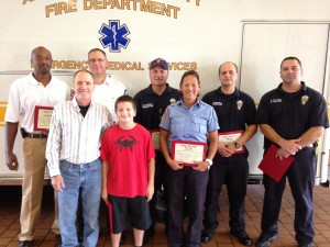 Pictured left to right are Mr. Troy Brown, Mr. John Bengough, Sr., Captain James Kunath, John Bengough, Jr., Firefighter Michael Dorsey, Firefighter/EMT-I Mary Poulis, Firefighter David M. Pennell II and Firefighter/Paramedic Brian Turchetta. (Courtesy photo)