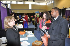 Jobseekers talk with representatives of one of the employers at a recent Anne Arundel Community College Job Fair. The AACC Spring 2015 Job Fair will be April 16, in the David S. Jenkins Gymnasium on AACC's Arnold campus, 101 College Parkway. See http://www.aacc.edu/careers/employmentservices/jobfair.cfm for more information.