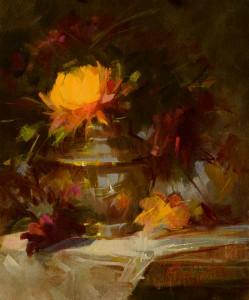 Rita Curtis, Yellow Mums & Brass, oil, at McBride Gallery