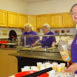 right to left)  Margie Holman, Helen Burr and Sandy Shumate in the kitchen