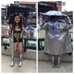 "Julia drove from NJ and sported this storm ready outfit that was heavily inspired by Taylor Swift's song ""Clean."""