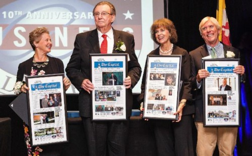 The 10th Anniversary Business Hall of Fame and Business Awards Dinner presented by Severn Savings Bank was held in the Lowes Hotel ballroom and included inductees Richard Franyo (Boatyard Bar & Grill), Lisa Hillman (Former President of the Anne Arundel Medical Center Foundation; Senior Vice President and Chief Development Officer for Anne Arundel Health System), Dr. Jane Snider (Founder and Executive of the Summit School), and Mike Phennicie (Anne Arundel County business leader).