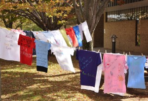 "Handmade T-shirts telling individual stories of domestic violence are strung across the Quad at Anne Arundel Community College as part of last year's recognition of domestic violence. The T-shirts will appear again on the Quad this year Oct. 20-21, and a panel discussion, ""Domestic Violence: Prevent, Detect, Stop,"" will be at 6:30 p.m. Thursday, Oct. 22, in the Cade Center for Fine Arts Room 219. The community is invited."