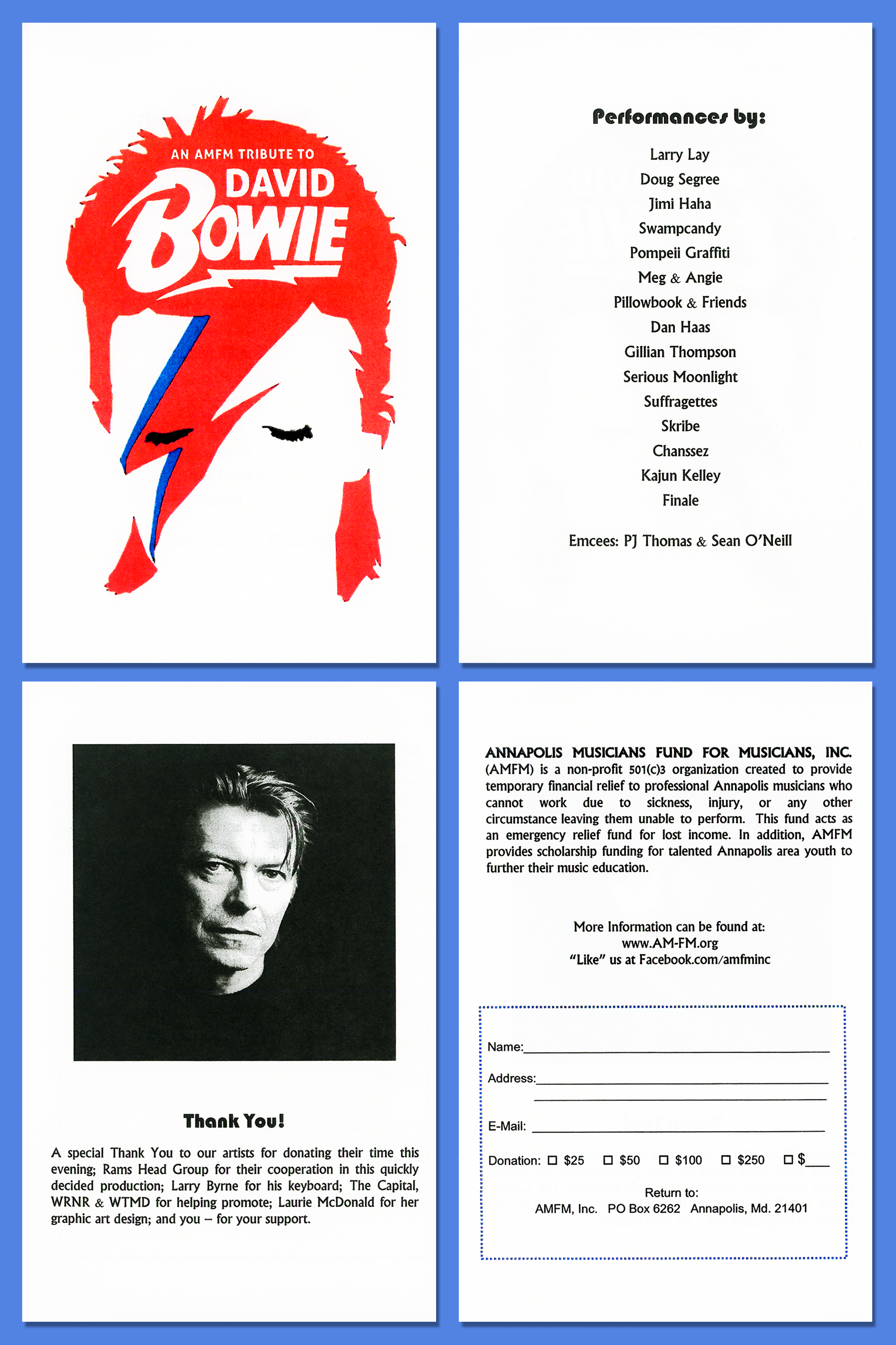 Daivd Bowie Tribute Show Program Layout