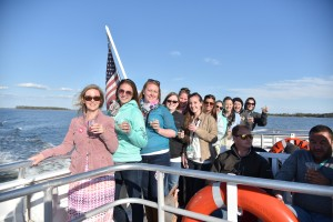 Guests aboard Lady Sarah cruising to St. Michaels WineFest in 2015. Photo Credit: Sabrina Raymond.