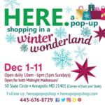HERE. a pop-up shop opens on State Circle