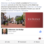OPINION: City funded Downtown Annapolis Partnership lauds Alderman Budge in Facebook posting???