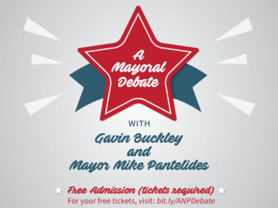 Buckley, Pantelides to face off for Mayor's seat in November. Tickets to debate are now available.
