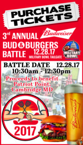 Get your ticket to the 3rd Annual Bud & Burger Battle at Military Bowl Official Tailgate