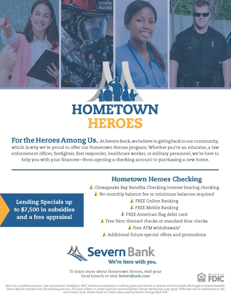 Severn Bank offer program for Hometown Heroes