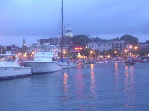 Annapolis City Dock at dusk.
