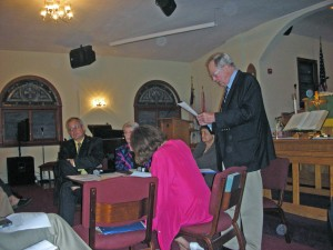Annapolis Democratic Central COmmittee. L-R Chuck Weikel, Gail Smith, Bess Demas, Trudy McGowan, Nick Berry