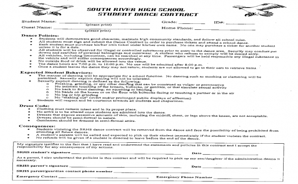 South River Senior High Dance Contract (click to enlarge)