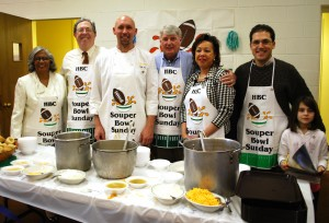 Annapolis Alderwoman Classie Hoyle, Alderman Fred Paone, Chef Zachary Pope of Roundz Gourmet Market & Catering, MD Speaker of the House Mike Busch, Alderwoman Shelia Finlayson, Mayor Joshua Cohen and daughter Naomi at the 6th Annual SOUPer Bowl Lunch for the Light House Shelter. (Courtesy Photo)