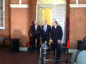 Leopold and his defense team exit the courthouse after his guilty verdict