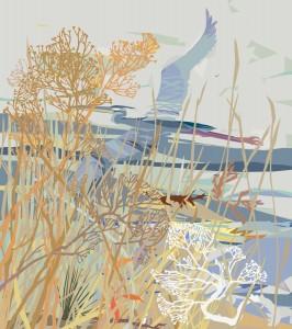 Nancy Hammond, Heron in Marsh Grasses, Mixed Media, Paper, at MD Hall