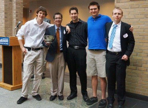 Anne Arundel Community College's Ethics Team took first place in the recent 11th Annual Community College Ethics Bowl Competition. The team includes, from left, Cameron Smith of Glen Burnie; coach Kevin H. Murphy, assistant professor of Philosophy; Zach Yokel of Greenbelt; Sam Edwards of Severna Park; and Bill Moynihan of Arnold.