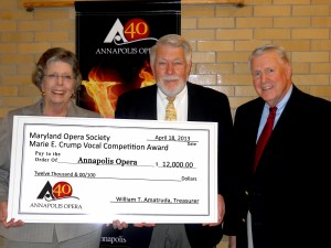Maryland Opera Society Donation (Pictured are Lee Finney, Annapolis Opera President; Stephen Cone, Maryland Opera Society President; and Edward Crump, son of Marie. E. Crump)