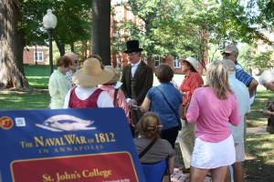 """Squire Frederick Taylor takes guests back to the time of Francis Scott Key on the new """"War of 1812 in Annapolis"""" tour offered by Annapolis Tours by Watermark."""