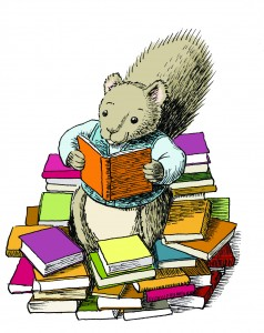 Squirrel with books