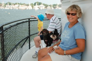 Four legged guests and their human companions enjoying Watermark's Dog Days of Summer Cruise to benefit the Anne Arundel County SPCA.