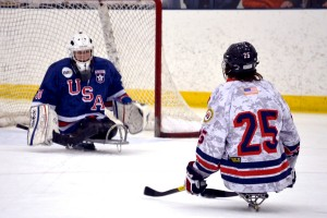 Members of the USA Warriors Ice Hockey sled teams, comprised of injured U.S. Armed Forces service members and veterans, play each other in the Hockey for Heroes charity exhibition tournament on March 14 in Annapolis, Md., which raised $96,000 for their team and for Wounded Warriors Project. (Courtesy Lisa Mezzanotti)