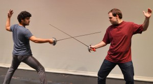 """Miguel Valarino of Glen Burnie, left, as La Chevalier Danceny and Erik Alexis of Millersville as Le Vicomte de Valmont get stage combat training as they rehearse for a dueling scene in """"Les Liaisons Dangereuses,"""" a play by Christopher Hampton showing Nov. 7-8 and 13-15 at 8 p.m. and Nov. 9 and 16 at 2 p.m., in the Robert E. Kauffman Theater in the Pascal Center for Performing Arts on AACC's Arnold campus, 101 College Parkway.Tickets are $15 general admission, $10 AACC faculty and staff, senior citizens, active military, groups and other students and $5 for AACC students with valid ID. For tickets, contact the box office at 410-777-2457 or boxoffice@aacc.edu. AACC will stage """"The Phantom of the Opera"""" April 16-25."""