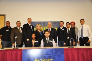 After the roundtable, the students posed with U.S. Sen. Benjamin L. Cardin and AACC President Dr. Dawn Lindsay. From left are, Joe Henry of Arnold, Marcelo Lanas of Arnold, Ryan Bessling of Pasadena, Dr. Lindsay, Sen. Cardin, Travis Duncan of Baltimore, Ian Genove of Hanover, Marleshia Murray of Bowie and Chris Anderson of Annapolis. Seated are Christina Newton of Savage and Emran Haque of Crofton. Not pictured is Diana Dalakis of Annapolis.