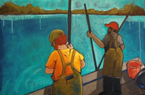 """Jennifer Wilkinson Rynbrandt, """"Oystermen: Big Boys in Rubber Pants"""", Acrylic on canvas for Holiday Shoppe at West Annapolis Artworks"""
