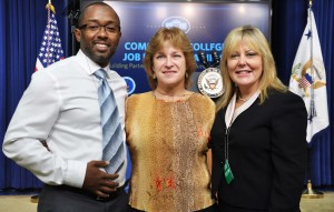 As successful graduates of an earlier federal training program, Anne Arundel Community College alumni Gary Pollard Jr. and Ginny Quillen were part of the White House program announcing new training opportunities under a grant the U.S. Department of Labor. AACC President Dr. Dawn Lindsay and a contingent of 15 other staff, faculty and students were invited to the event.