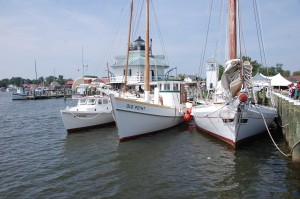 The Chesapeake Bay Maritime Museum's floating fleet, including from left, the 1934 draketail (or dovetail) Martha, the 1909 log bottom crab dredger Old Point, and the 1889 log bottom bugeye Edna E. Lockwood, will be featured in a segment of the February 5, 8 p.m. broadcast of Maryland Public Television's Chesapeake Collectibles series. The fleet is part of the largest collection of Chesapeake Bay watercraft in the world, and can be seen along CBMM's waterfront campus in St. Michaels, MD. For more information, visit www.chesapeakecollectibles.com or www.cbmm.org.