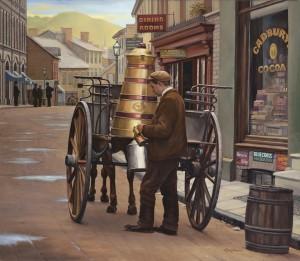 John Payne, Milk Delivery, oil at McBride Gallery