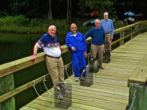 Ginger Cove Residents/Oyster Restoration Volunteers (left to right): John Kenny, Gene Avallone, Meade Rudasill, Dwight Bartlett