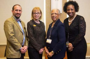 Celebrating the award are, from left to right, Scot Shaffer, project coordinator for the Center for Workforce Solutions at Anne Arundel Community College; Janis Siegel, workforce development consultant for CWS at AACC; Joyce Phillip, chief human resources officer for University of Maryland Faculty Physicians; and Angela Wilson, associate director of learning and organizational development for FPI.